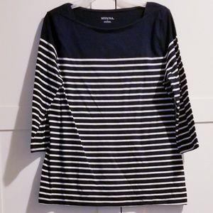 3/4 Navy blue & White Striped Shirt